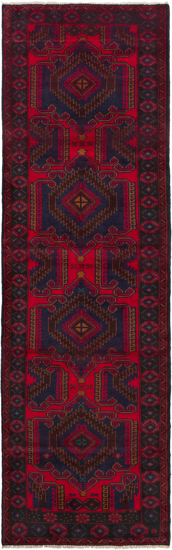 Hand-knotted Afghan Bordered  Tribal Rizbaft Runner rug  Red 3.2 x 11