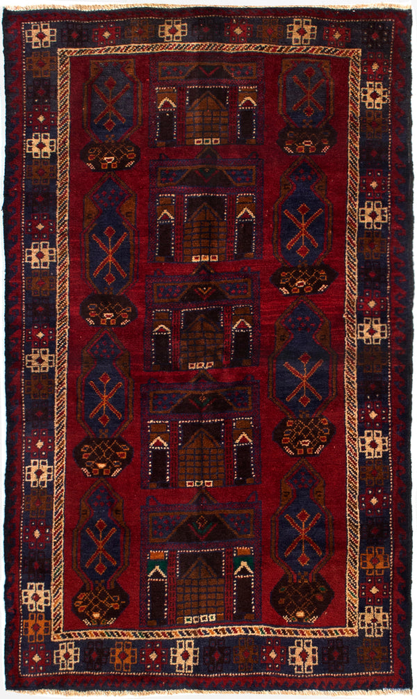 Hand-knotted Afghan Bordered  Tribal Teimani Area rug  Red 3.5 x 5.11