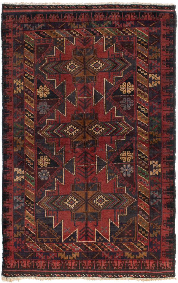Hand-knotted Afghan Bordered  Tribal Kazak Area rug  Red 3.6 x 5.1