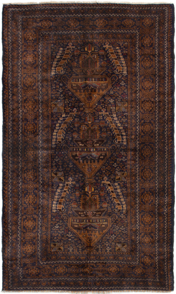 Hand-knotted Afghan Bordered  Tribal Rizbaft Area rug  Dark Navy 4 x 7.1