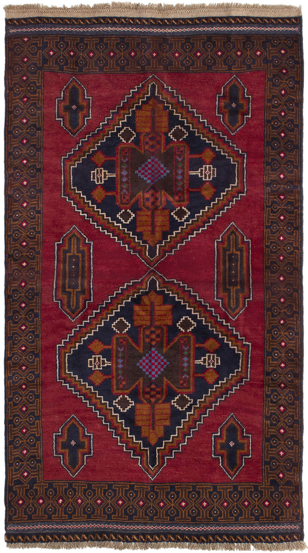 Hand-knotted Afghan Bordered  Tribal Rizbaft Area rug  Dark Copper 3.6 x 6.4