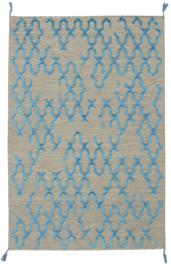 Flat-weave Indian Carved  Flat-weaves & Kilims Kalista Area rug  Light Khaki, Sky Blue 4.11 x 7.1