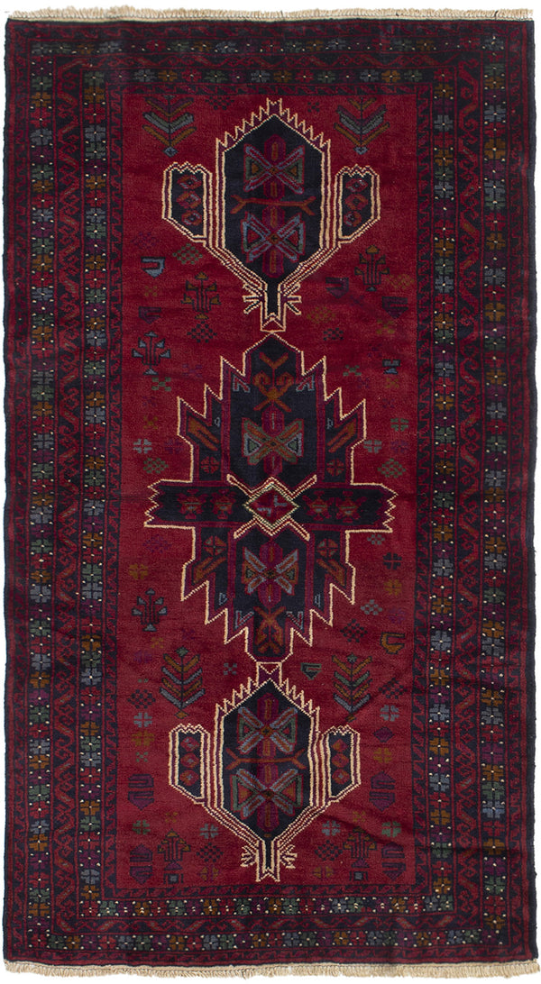 Hand-knotted Afghan Bordered  Tribal Rizbaft Area rug  Dark Red 3.5 x 6.7
