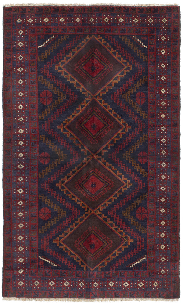 Hand-knotted Afghan Bordered  Tribal Finest-Rizbaft Area rug  Dark Navy, Red 3.5 x 5.1