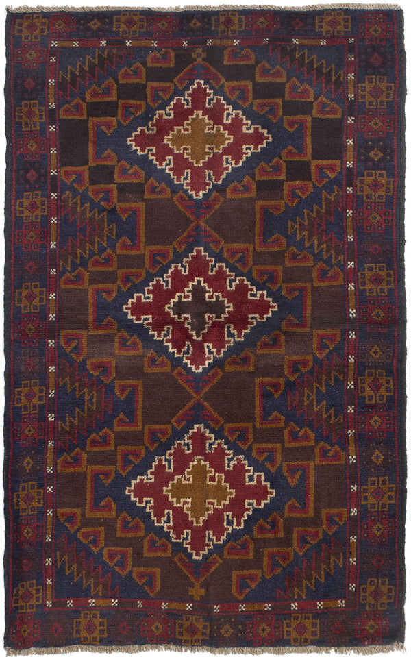 Hand-knotted Afghan Bordered  Tribal Kazak Area rug  Dark Navy, Red 3.4 x 5.7