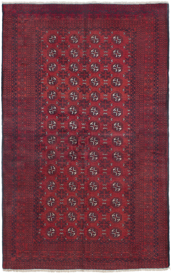 Hand-knotted Afghan Bordered  Tribal Rizbaft Area rug  Red 3.6 x 5.9