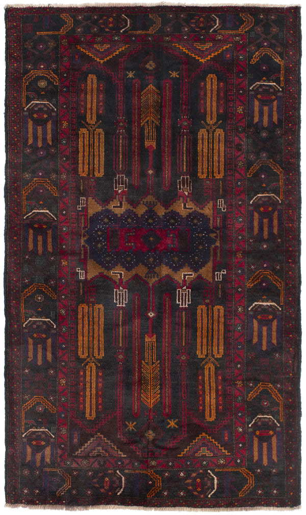 Hand-knotted Afghan Bordered  Tribal Teimani Area rug  Red 3.7 x 6.5