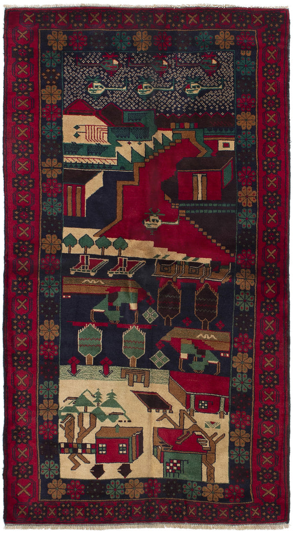 Hand-knotted Afghan Bordered  Tribal Rizbaft Area rug  Red 3.5 x 6.5