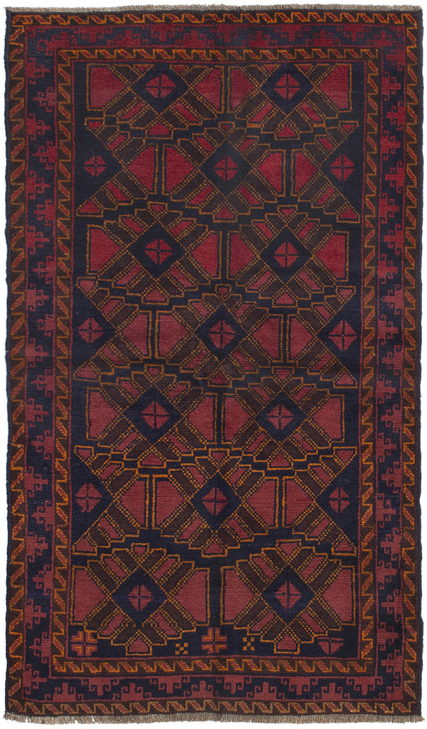 Hand-knotted Afghan Bordered  Tribal Teimani Area rug  Dark Copper 3.4 x 6.1