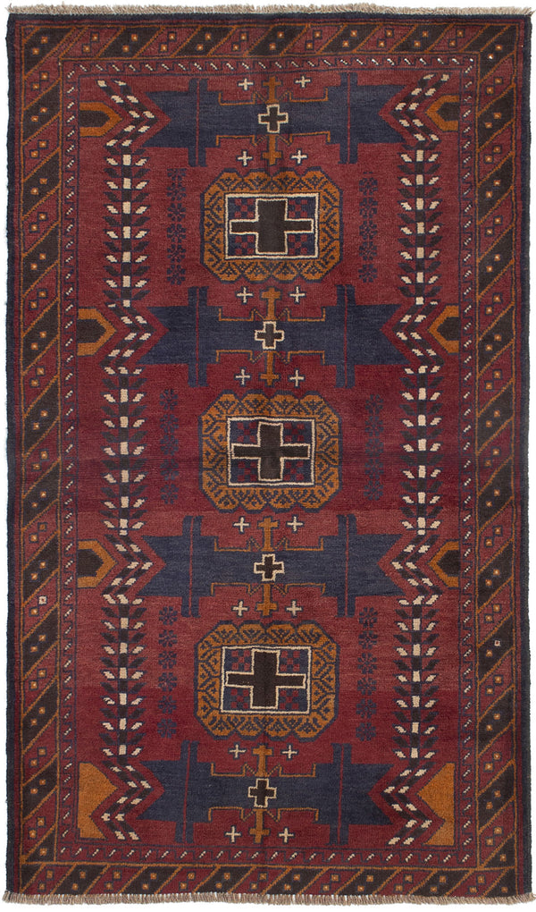 Hand-knotted Afghan Bordered  Tribal Teimani Area rug  Dark Copper 3.5 x 6