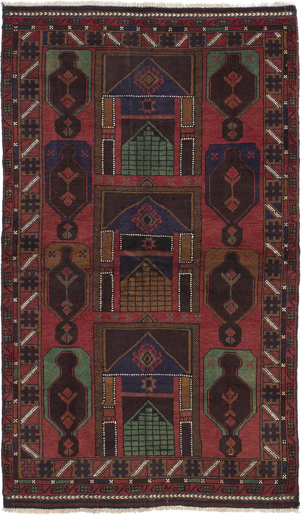 Hand-knotted Afghan Bordered  Tribal Rizbaft Area rug  Dark Copper 3.5 x 6.2