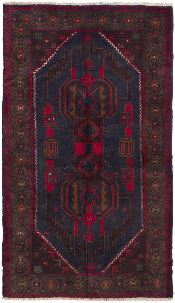 Hand-knotted Afghan Bordered  Tribal Rizbaft Area rug  Dark Navy, Red 3.6 x 6.1
