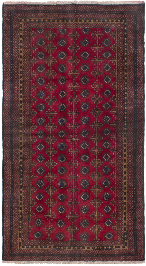 Hand-knotted Afghan Bordered  Tribal Finest-Rizbaft Area rug  Red 3.5 x 6.6