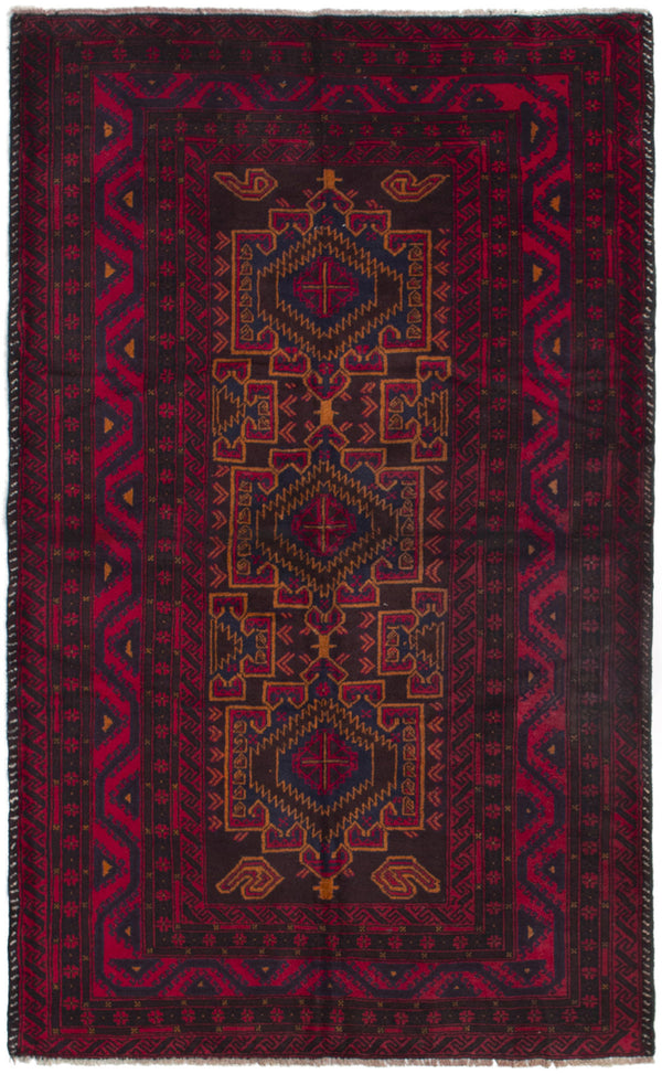 Hand-knotted Afghan Bordered  Tribal Rizbaft Area rug  Red 3.11 x 6.6