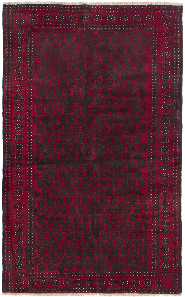 Hand-knotted Afghan Bordered  Tribal Teimani Area rug  Red 3.6 x 6.1