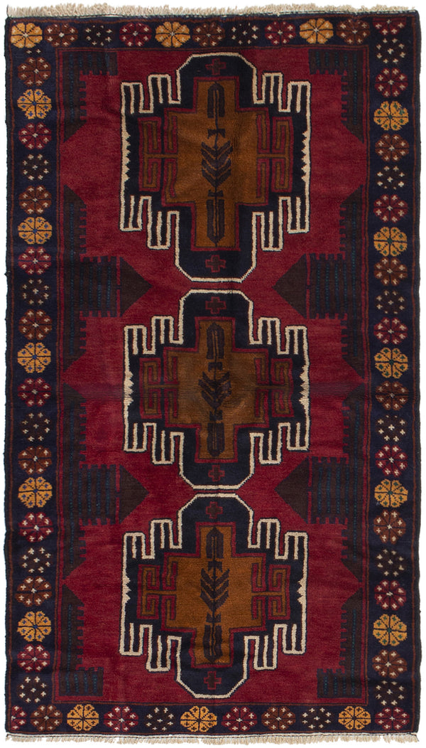 Hand-knotted Afghan Bordered  Tribal Kazak Area rug  Red 3.4 x 6.4
