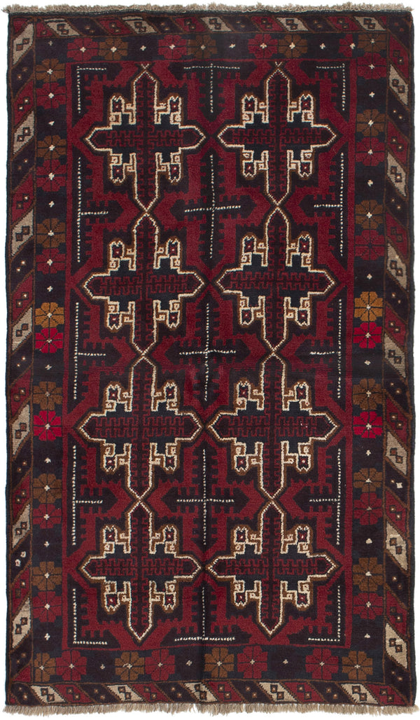 Hand-knotted Afghan Bordered  Tribal Kazak Area rug  Red 3.3 x 6.1