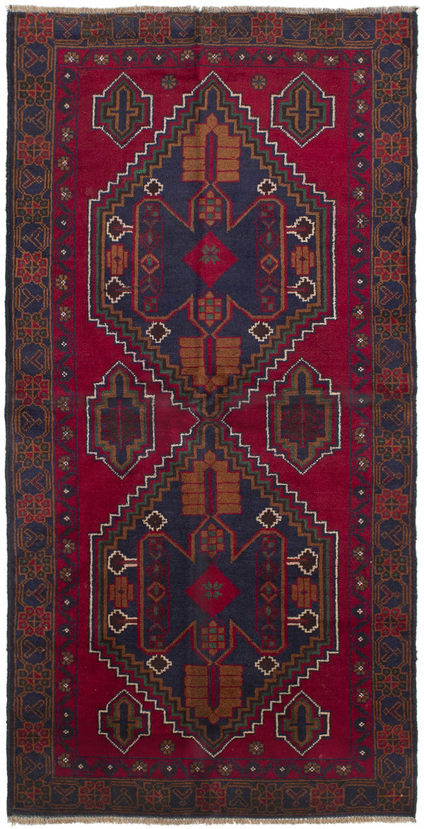 Hand-knotted Afghan Bordered  Tribal Kazak Area rug  Red 3.2 x 6.6