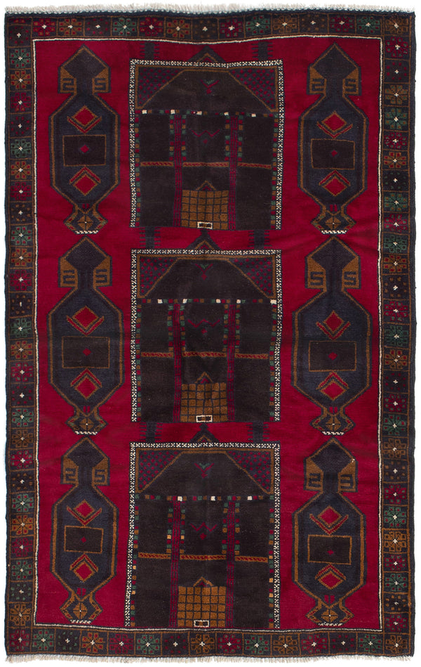 Hand-knotted Afghan Bordered  Tribal Rizbaft Area rug  Red 3.7 x 6