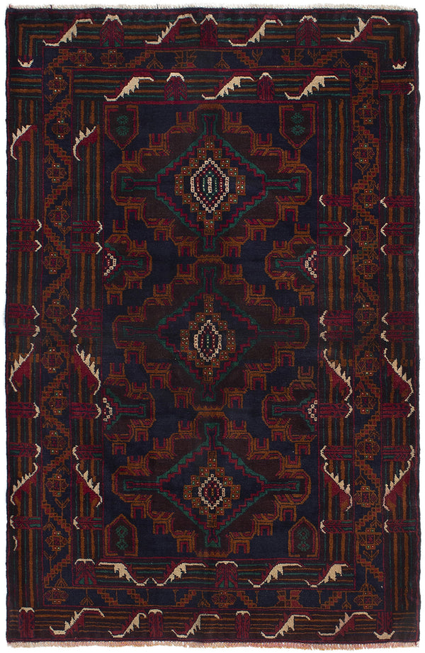 Hand-knotted Afghan Bordered  Tribal Rizbaft Area rug  Brown, Dark Navy 3.11 x 6.1