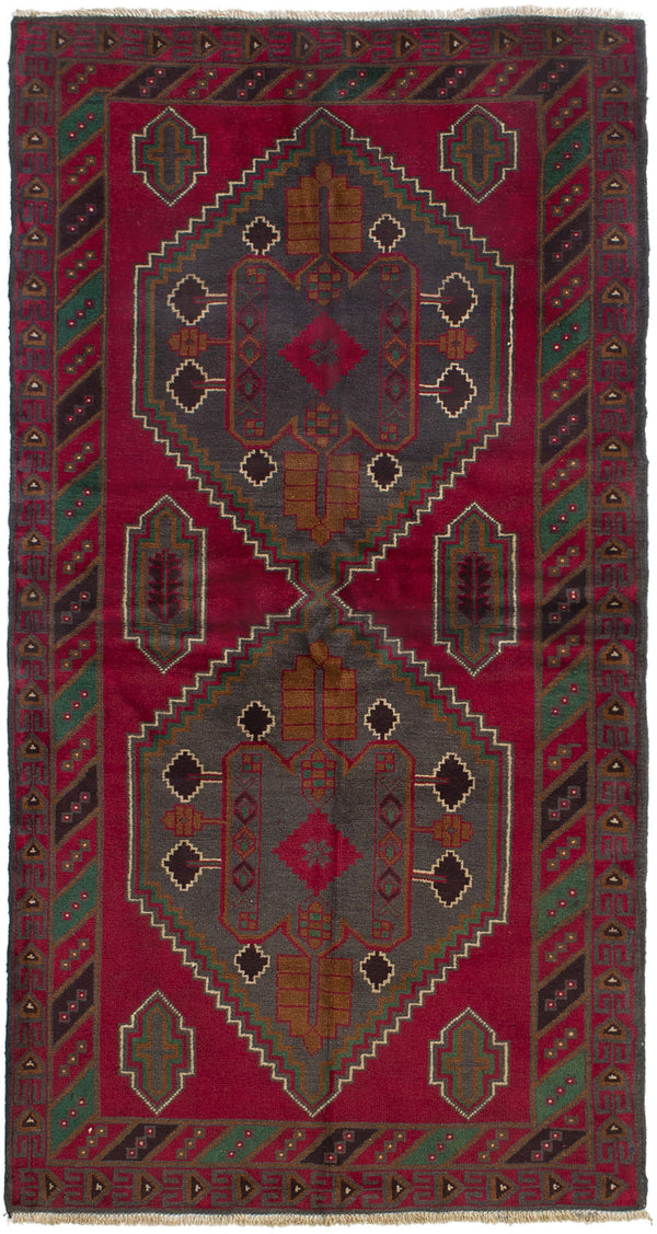 Hand-knotted Afghan Bordered  Tribal Teimani Area rug  Red 3.5 x 6.9