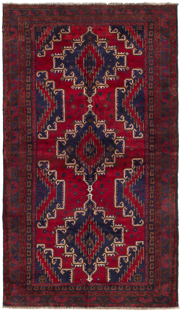 Hand-knotted Afghan Bordered  Tribal Finest-Rizbaft Area rug  Dark Copper 3.7 x 6.3