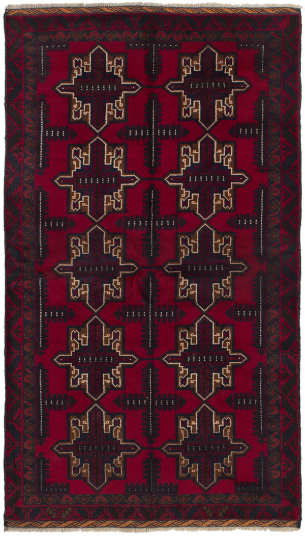 Hand-knotted Afghan Bordered  Tribal Finest-Rizbaft Area rug  Red 3.6 x 6.4