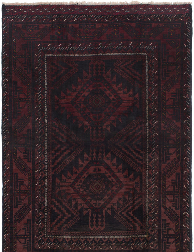 Hand-knotted Afghan Bordered  Tribal Finest-Rizbaft Area rug  Red 4.9 x 6.8