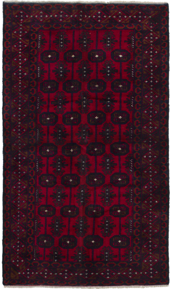 Hand-knotted Afghan Bordered  Tribal Finest-Rizbaft Area rug  Red 3.5 x 6.4