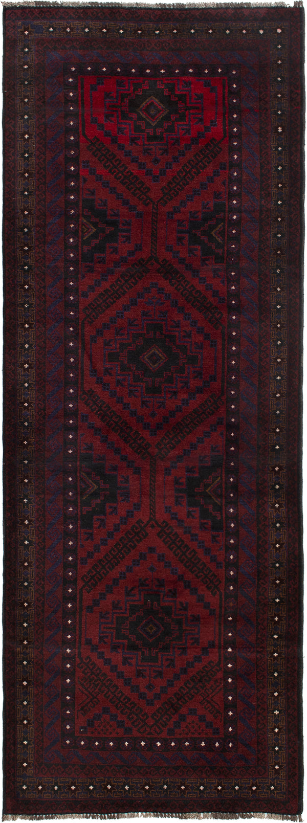 Hand-knotted Afghan Bordered  Tribal Finest-Rizbaft Runner rug  Dark Red 3.3 x 9.3