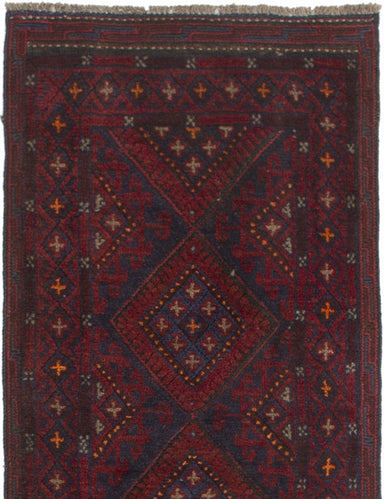 Hand-knotted Afghan Bordered  Tribal Tajik-Caucasian Runner rug  Red 1.11 x 9.4