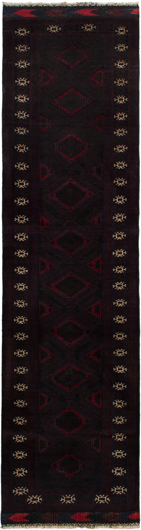 Hand-knotted Afghan Bordered  Tribal Finest-Rizbaft Runner rug  Dark Red 2.6 x 9.6