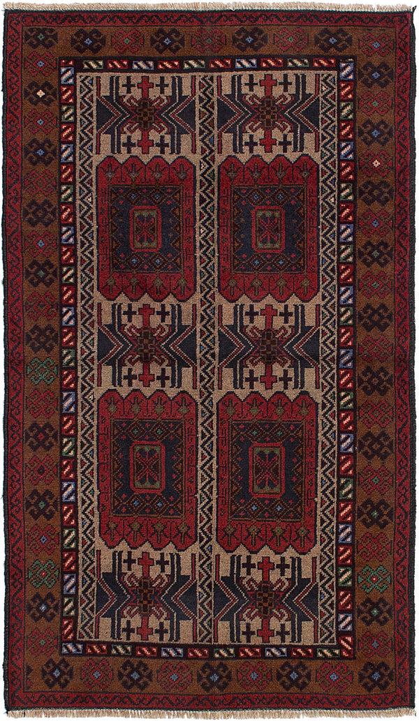 Hand-knotted Afghan Bordered  Tribal Teimani Area rug  Red 3.5 x 6.1
