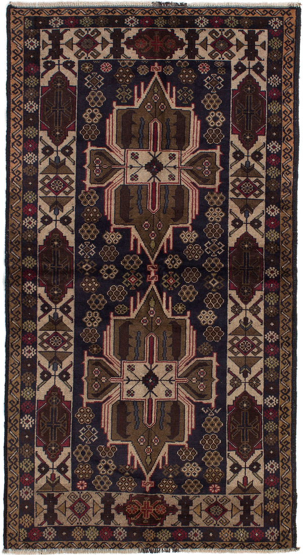 Hand-knotted Afghan Bordered  Tribal Rizbaft Area rug  Dark Navy 3.3 x 6.5