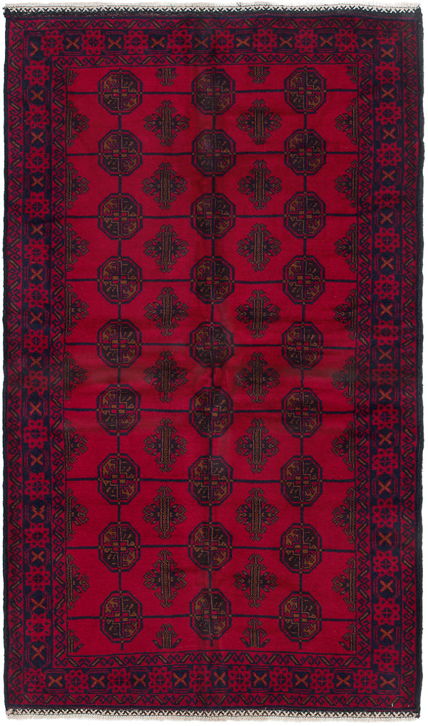 Hand-knotted Afghan Bordered  Tribal Finest-Rizbaft Area rug  Red 3.7 x 6.3