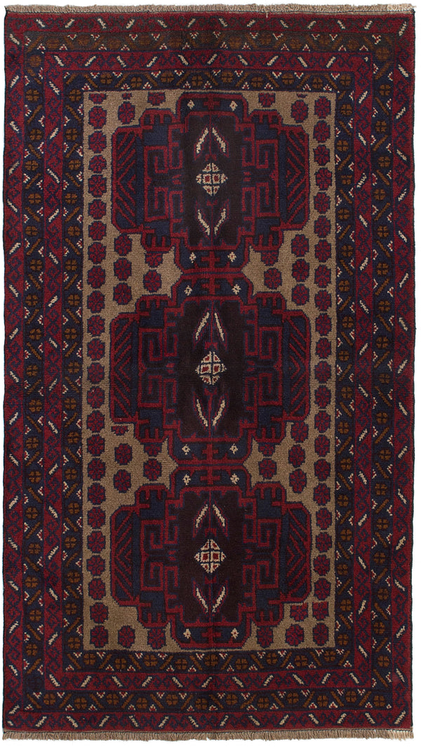 Hand-knotted Afghan Bordered  Tribal Kazak Area rug  Red 3.7 x 6.4