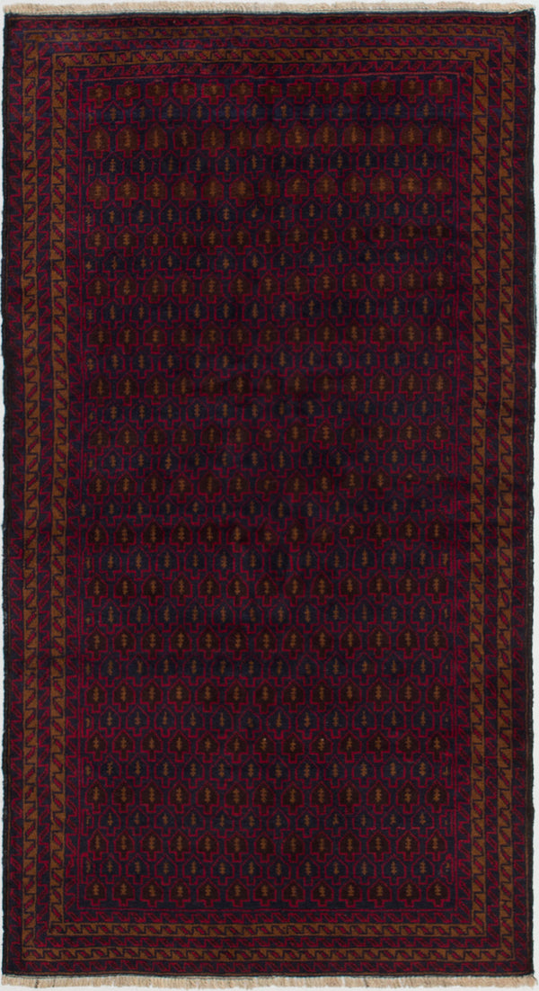Hand-knotted Afghan Bordered  Tribal Teimani Area rug  Dark Navy 3.4 x 6.2