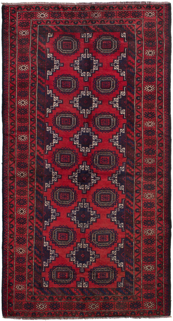 Hand-knotted Afghan Bordered  Tribal Rizbaft Area rug  Red 3.11 x 7.7
