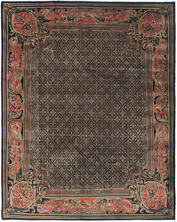 Hand-knotted  Bordered  Transitional Karma Area rug  Black 8.1 x 10.3
