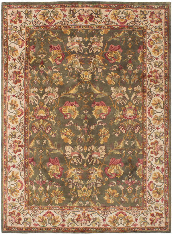 Hand-knotted Indian Bordered  Transitional Varanasi Area rug  Dark Green 8 x 11
