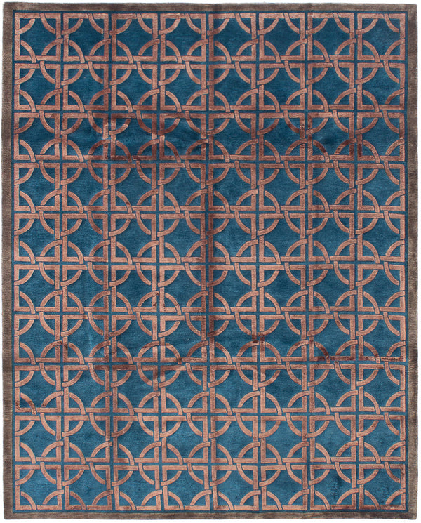 Hand-knotted  Carved  Transitional Silk-Touch Area rug  Turquoise 7.9 x 9.9