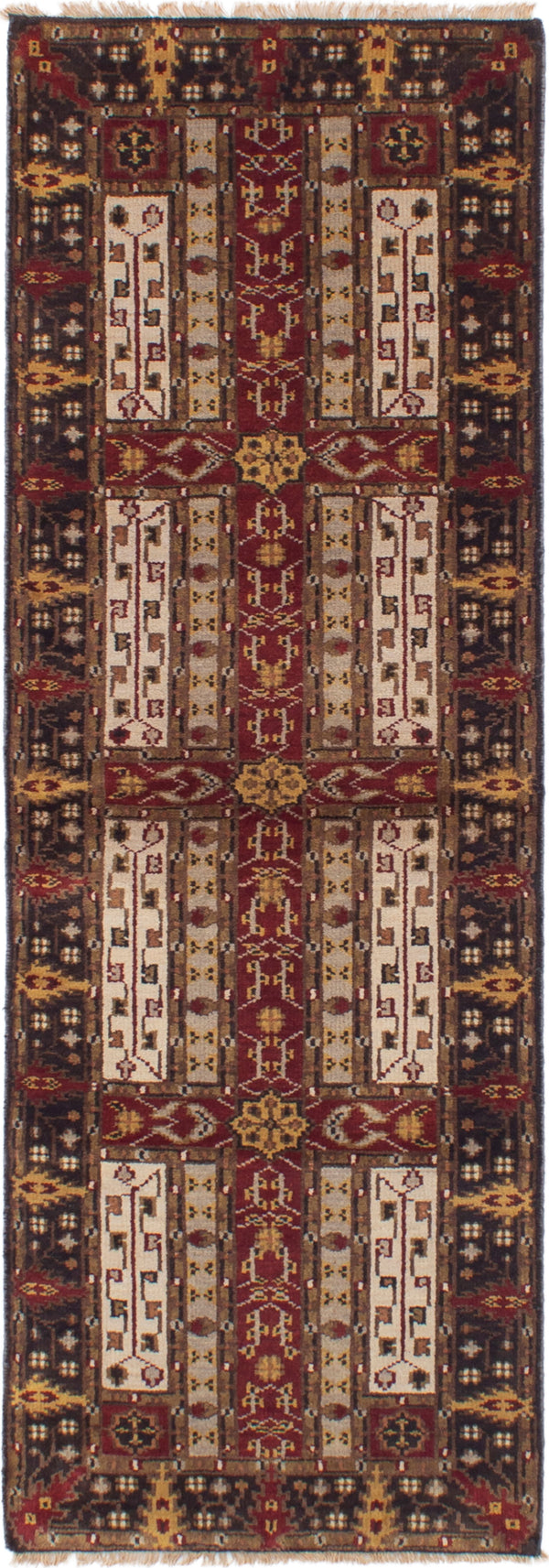 Hand-knotted Indian Bordered  Traditional Royal-Mahal Runner rug  Dark Red 2.6 x 8