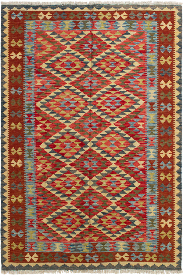 Flat-weave Turkish Bordered  Tribal Kashkoli-FW Area rug  Red 5.5 x 8