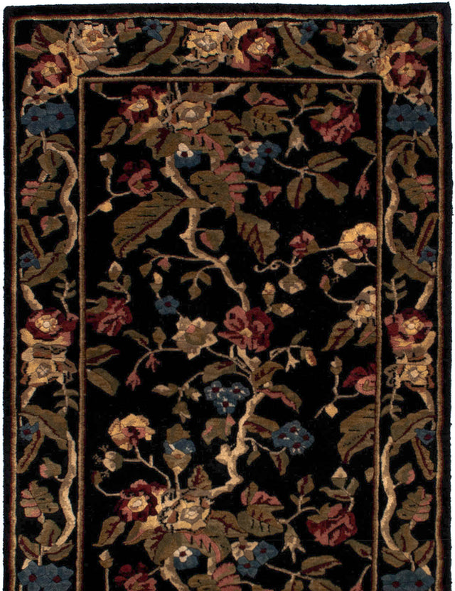 Hand-knotted  Bordered  Transitional Karma Area rug  Black 3.6 x 5.6