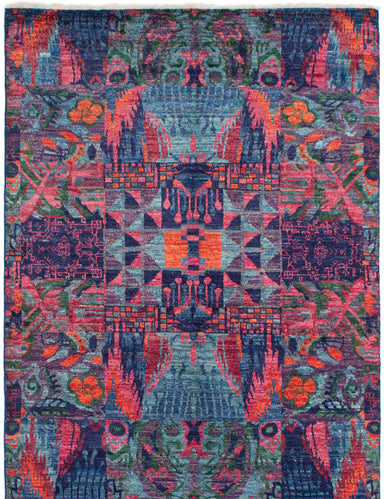 Hand-knotted Indian Casual  Contemporary Shalimar Area rug  Navy Blue, Turquoise 6 x 9.1