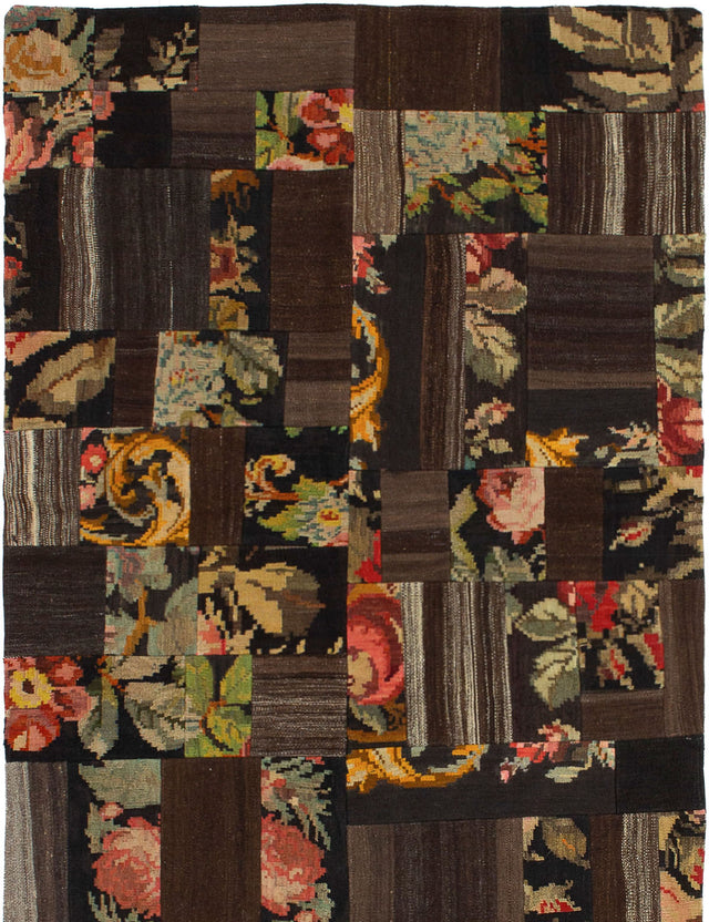 Flat-weave Turkish Casual  Flat-weaves & Kilims Moldovia-Patch Area rug  Dark Brown 4 x 5.1