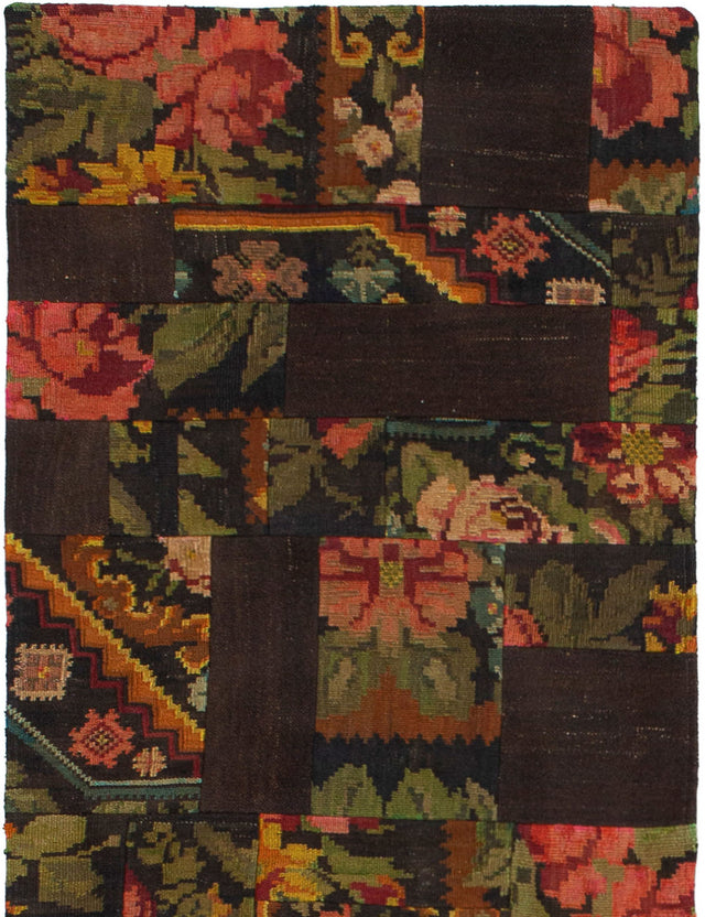 Flat-weave Turkish Casual  Flat-weaves & Kilims Moldovia-Patch Runner rug  Dark Brown 2.1 x 6.1