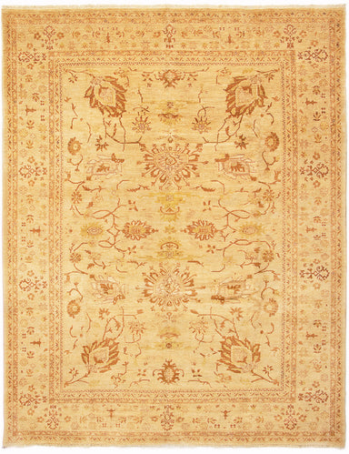 Hand-knotted Afghan Bordered  Traditional Chobi-Finest Area rug  Ivory 9 x 11.7