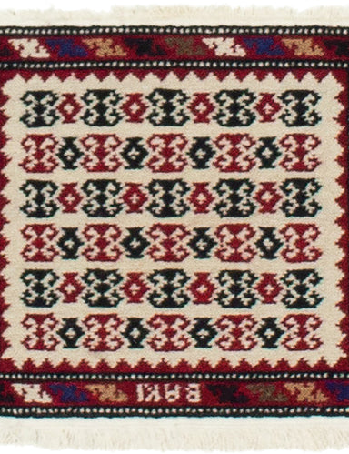 Hand-Knotted Area rug Bordered, Tribal, Vintage Ivory, Red