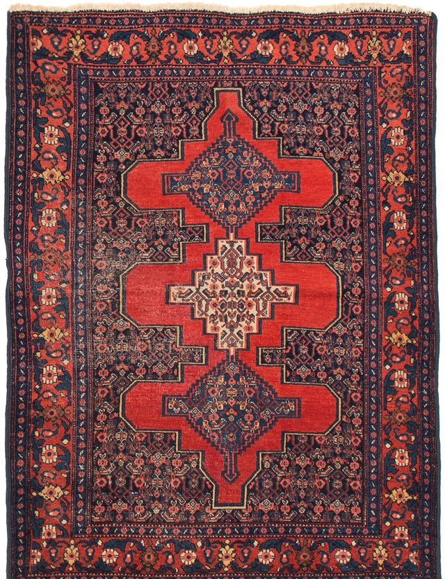 Hand-knotted  Bordered  Vintage Persian-Vintage Area rug  Dark Copper, Dark Navy 3.6 x 4.8